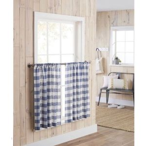 Threshold Blue Check Small Window Curtain Tiers